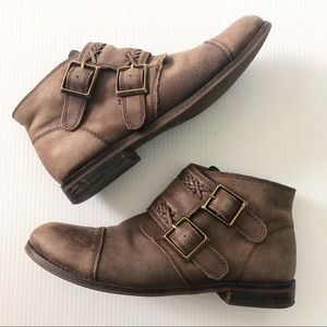 LUCKY BRAND Daker Brown Distressed Ankle Booties